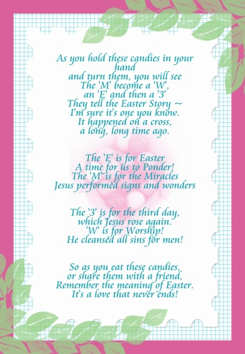 Free printable easter M&M poem
